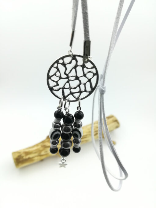 ketting bohemian wit suede hangend scaled