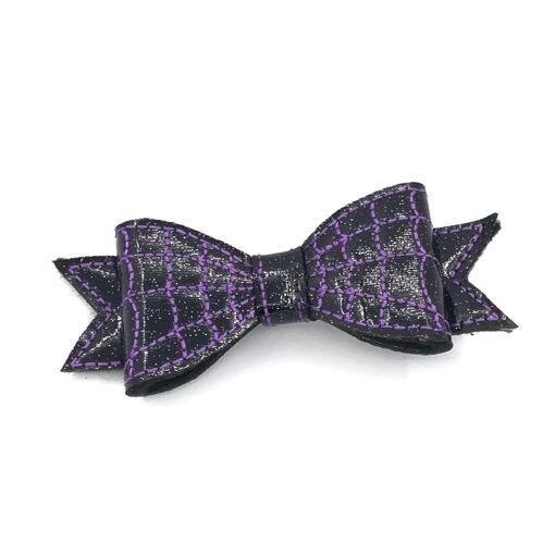 haarclip strik met spinnenweb paars